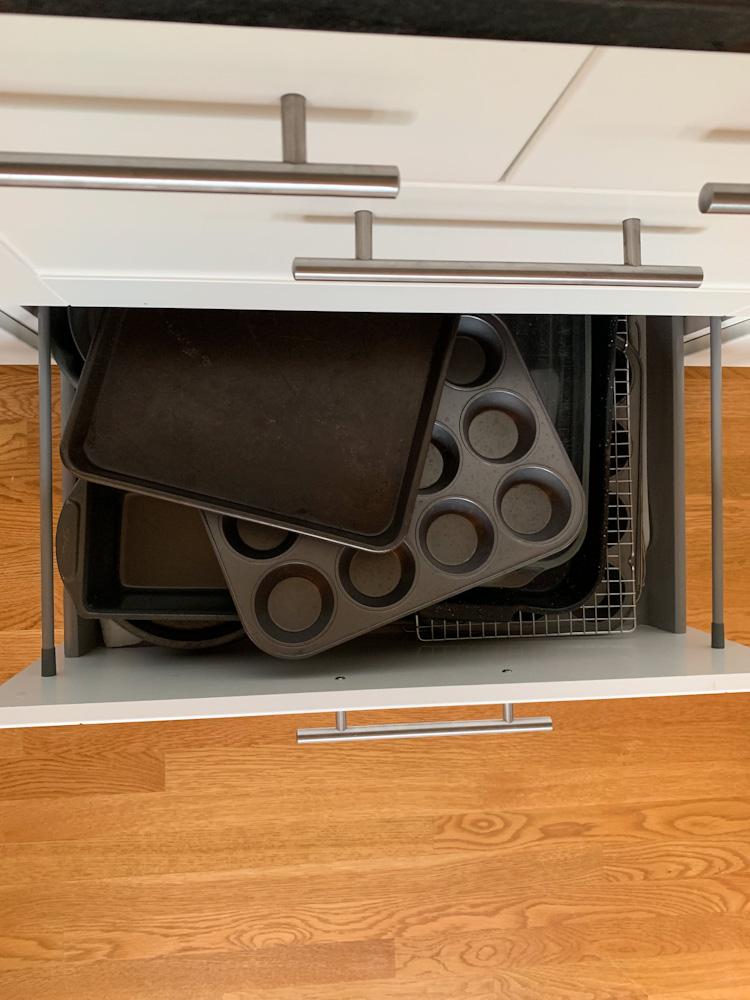 disorganized baking drawer