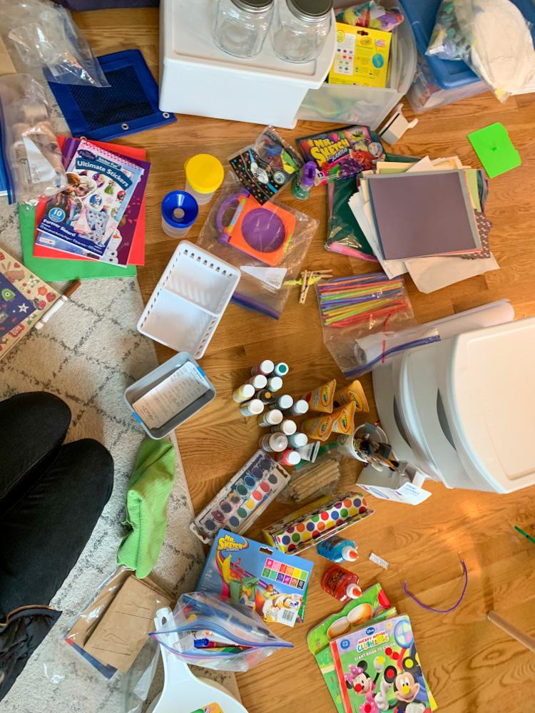 sorting art supplies