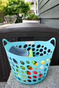 water toys in basket