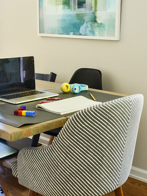 Dining table remote learning setup