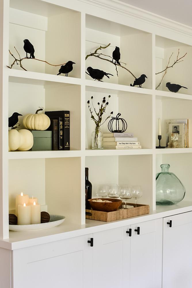 halloween bookshelves