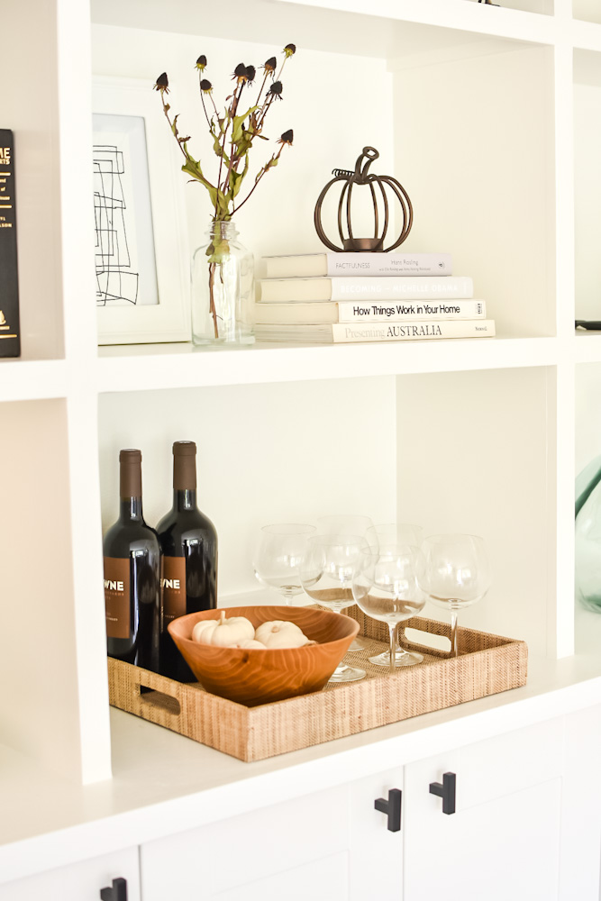 Fall decor for built ins