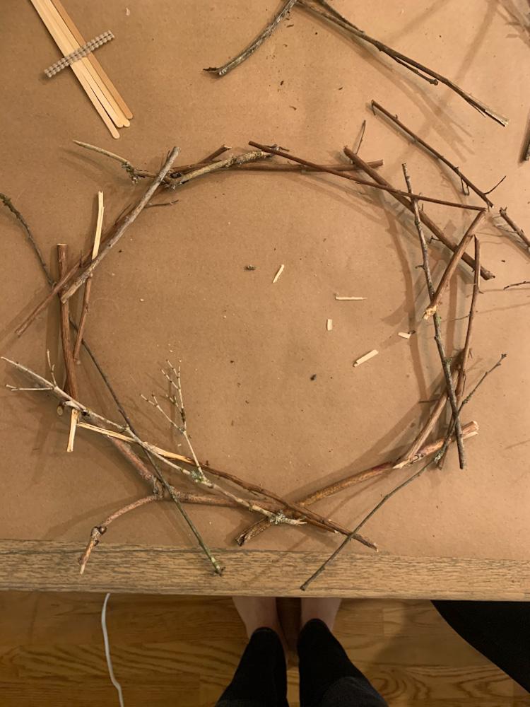hot glue stick wreath
