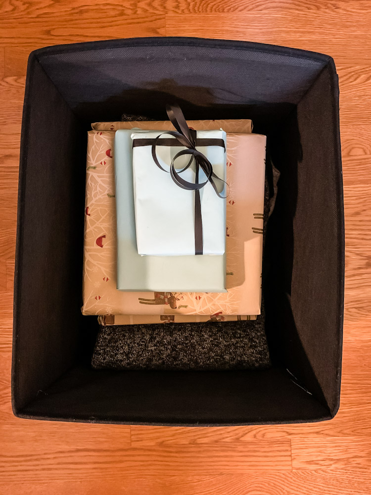 wrapped gifts in a box