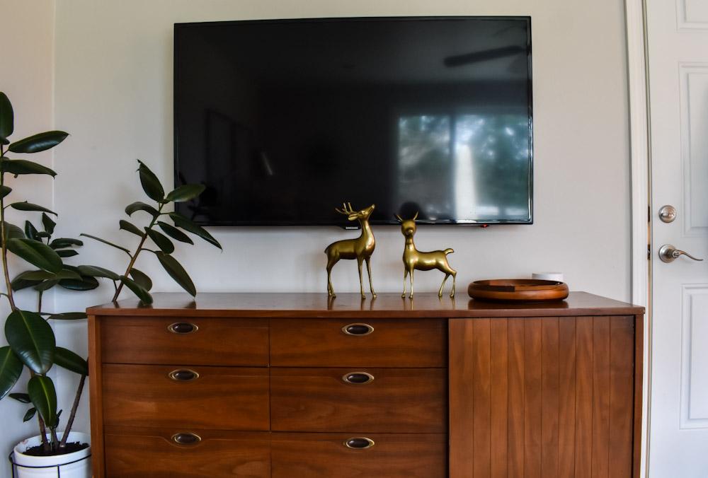 mid century brass deer