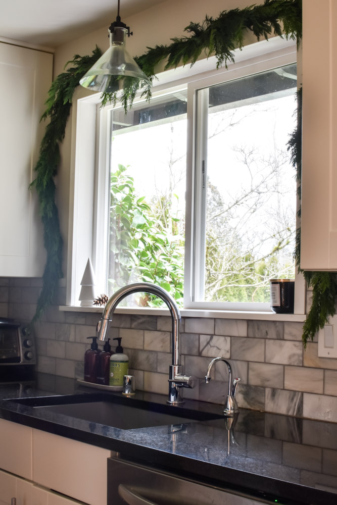 cedar garland kitchen window