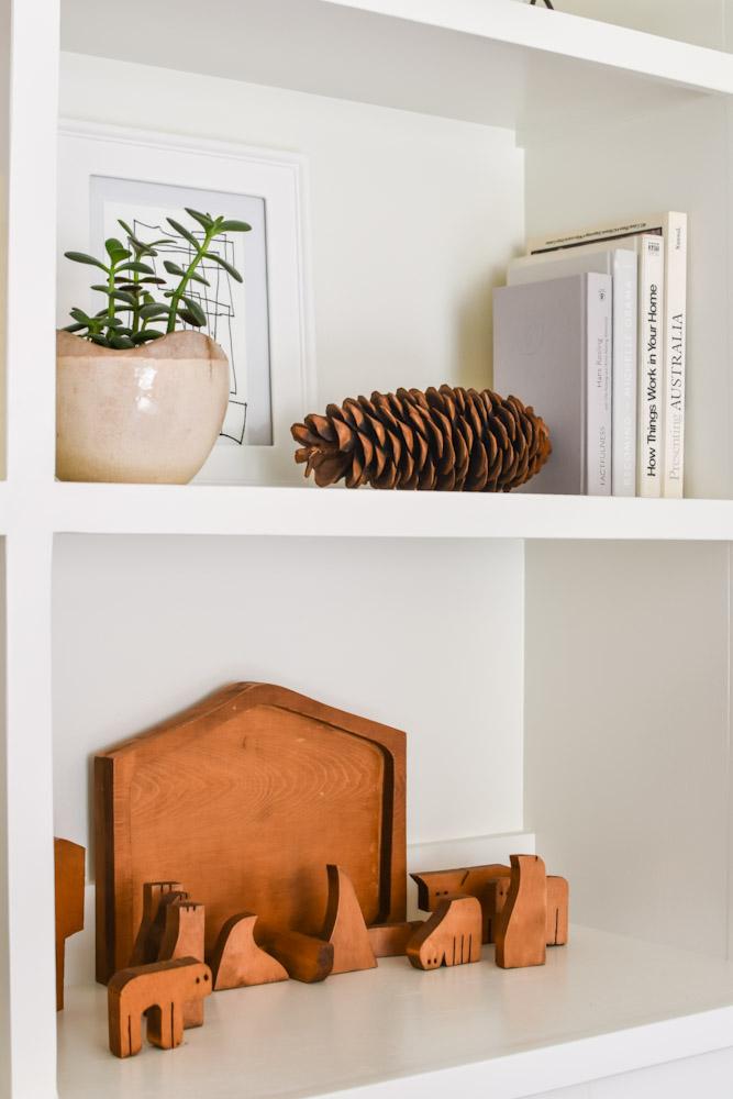 wood nativity bookshelf