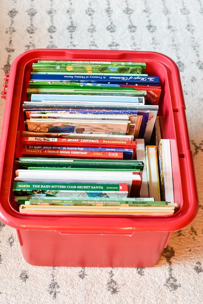 organized christmas book storage
