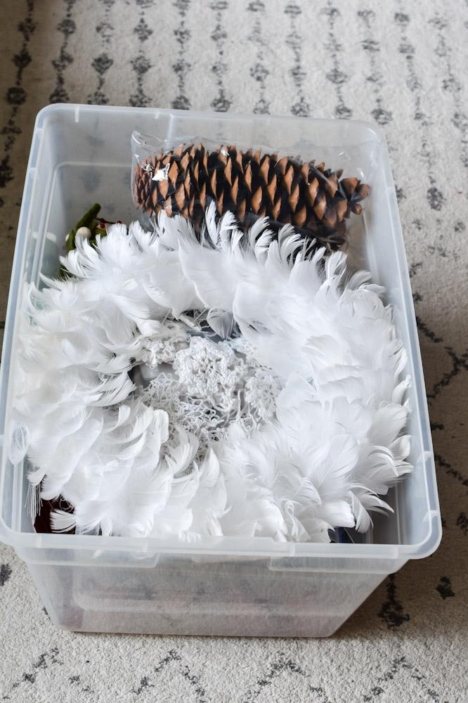 feather wreath in a bin