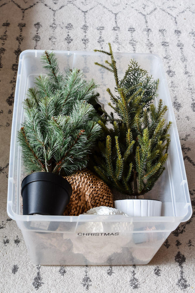 small christmas tree storage bin