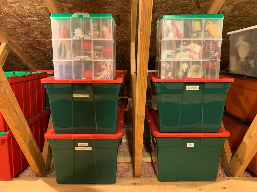 christmas storage bins in attic