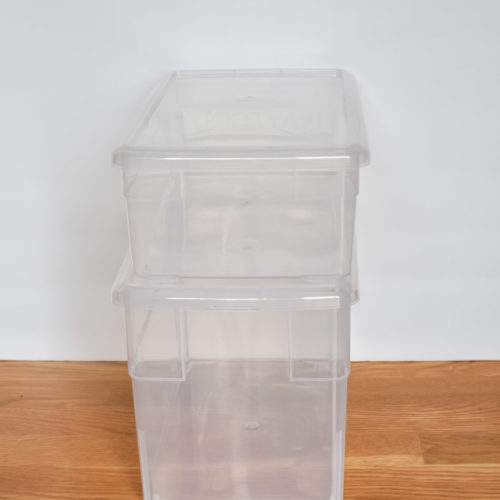 empty clear storage boxes from the container store