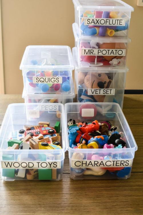 clear plastic toy bins