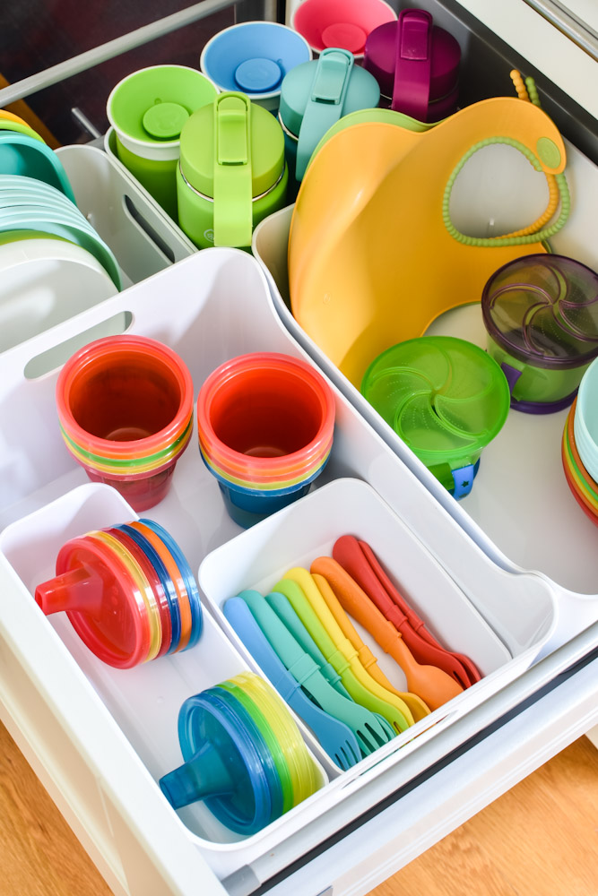 kid dishes in a drawer
