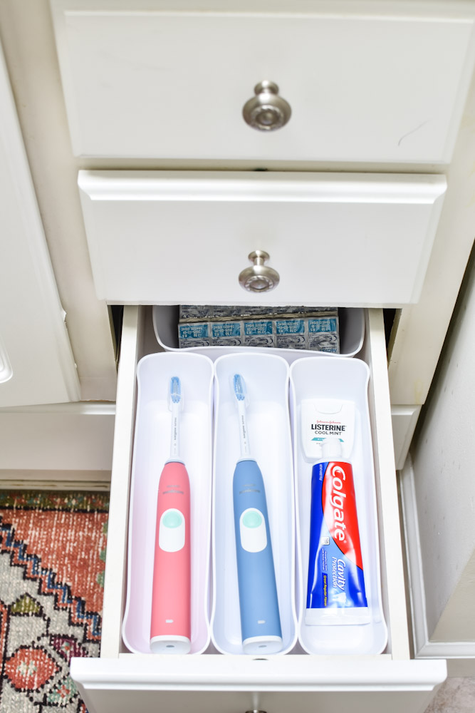 Organized toothbrushes in drawer