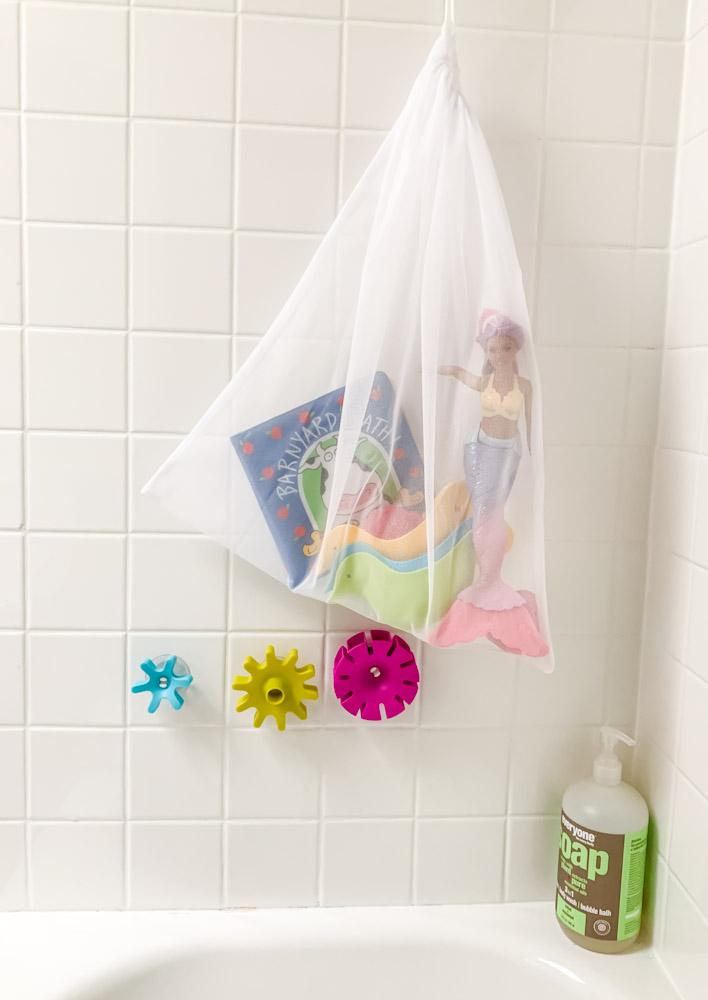 bath toys in a mesh bag