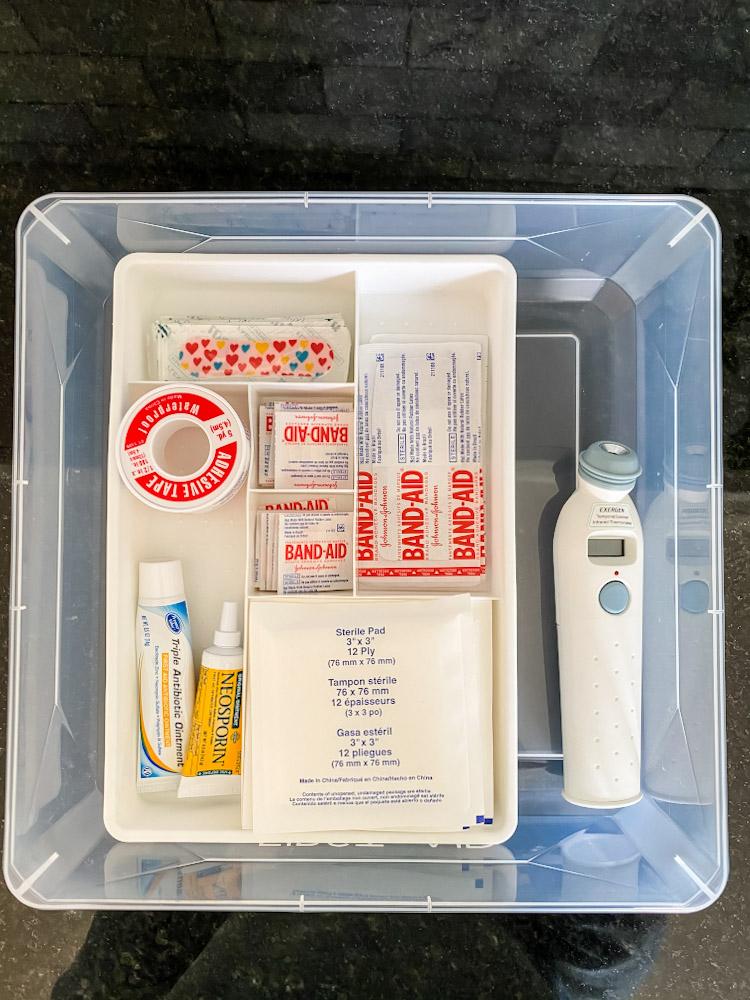 organized band aid first aid tray