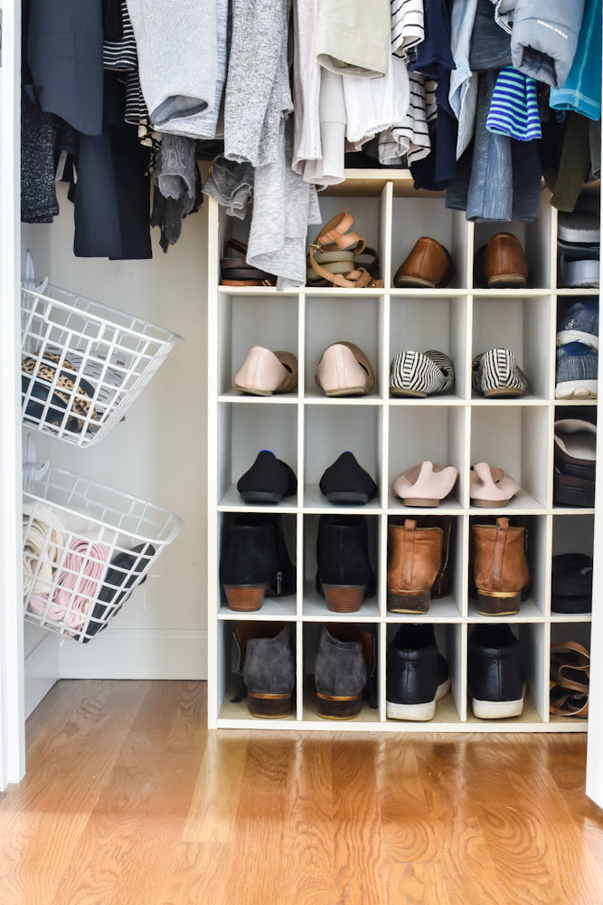 organized closet floor