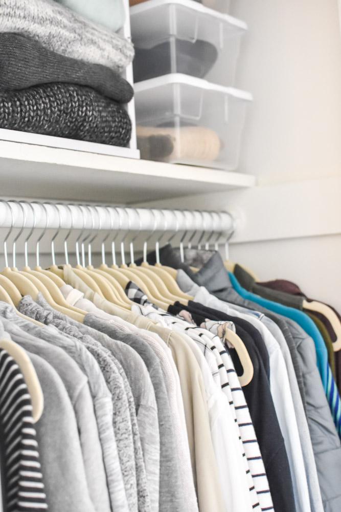 matching hangers in an organized closet