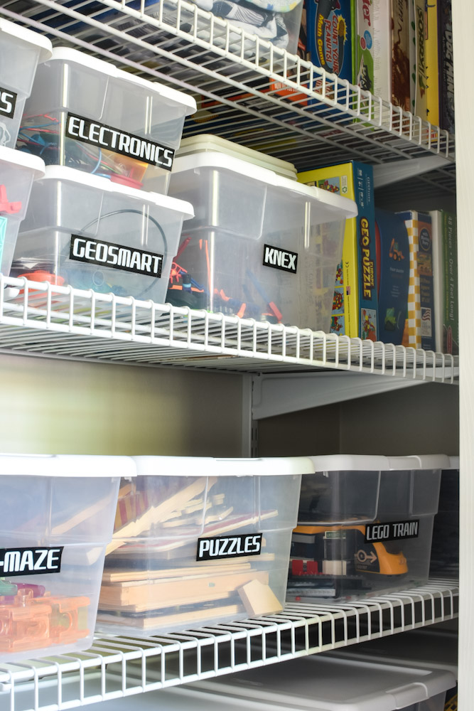 plastic bins with toys inside