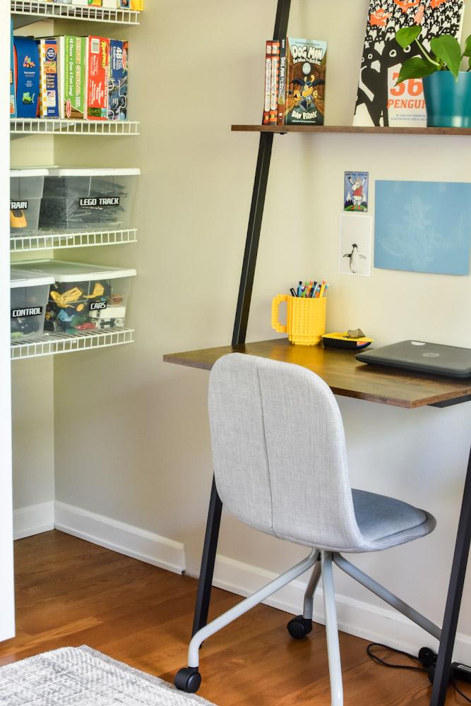 organized kid closet and desk area