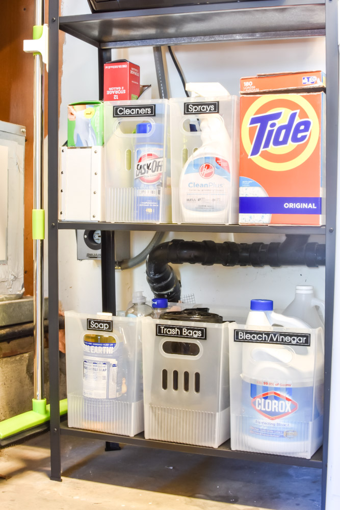 cleaning supply shelf